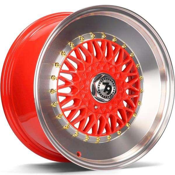 79WHEELS SV-F hliníkové disky 7x15 4x100 ET30 Red LP - Red Lip Polished
