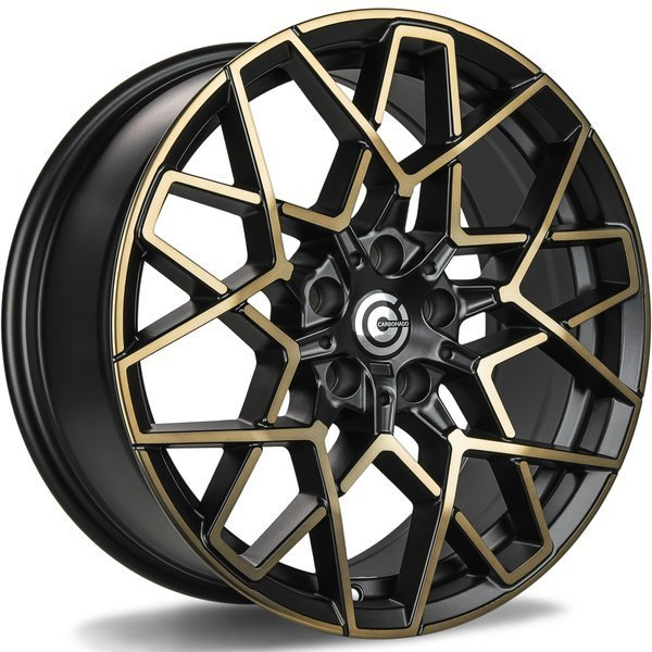 CARBONADO Shield hliníkové disky 8x18 5x112 ET30 Black Glossy Gold Front