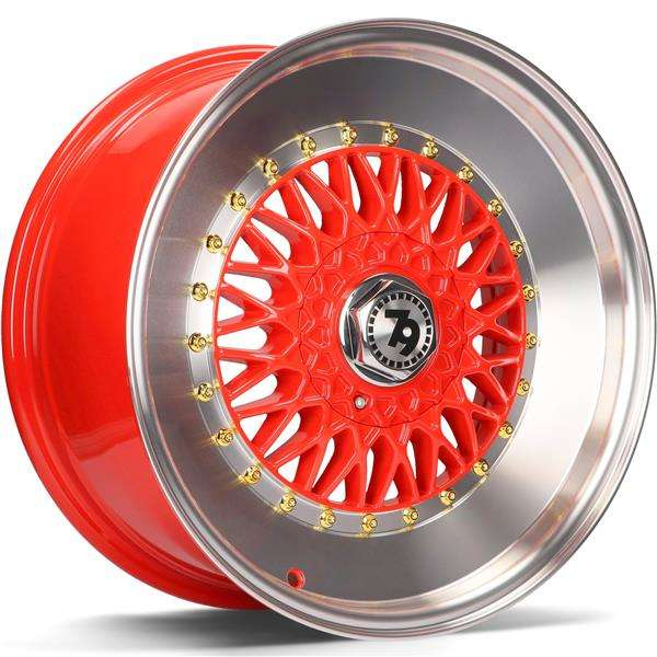 79WHEELS SV-F hliníkové disky 7x16 4x100 ET35 Red LP - Red Lip Polished